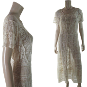 Crisp 1920's Vintage White Mixed Lace Tea Dress