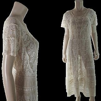 Crisp 1920's Vintage White Mixed Lace Tea Dress