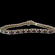 Vintage 14K Yellow Gold Diamond And Ruby Line / Tennis Bracelet