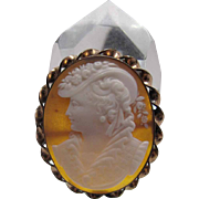 Fine Antique Sardonyx Shell Cameo Brooch Of Elizabethan Woman