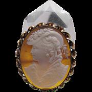 Fine Antique Sardonyx Shell Cameo Brooch Of Elizabethan Woman