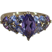 Estate 14K Yellow Gold Marquise Cut Amethyst And Tanzanite Ring