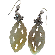 Vintage Pierce Carved Mutton Fat Nephrite Jade Dangle Earrings With Shepherd's Crook Wire