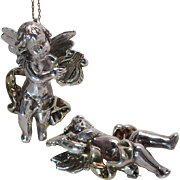 Extraordinary Pair Of Full Bodied Sterling Silver Putti Pendants / Brooches