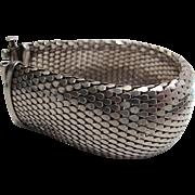 Vintage Sterling Silver Mesh Bracelet - 1 1/4-Inches Wide