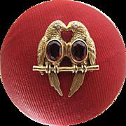 Vintage 14k Gold Garnet And Diamond Franklin Mint Love Bird Pendant Dated 1987