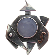 Mid-Century Modernist Sterling Silver Copper & Chalcedony Pendant