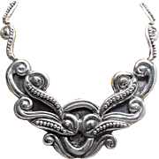 Dramatic 1940's Vintage Mexican 940 Silver Pectoral Necklace With MS Maker's Mark