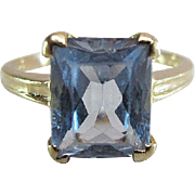 Vintage 14K Yellow Gold Radiant Cut 3.5 Carat Swiss Blue Topaz Ring