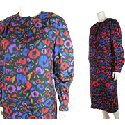 1970's Givenchy Dress With Vivid Painterly Floral Print