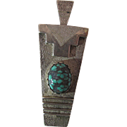 Heavy Vintage Navajo Tufa Cast Sterling Silver And Turquoise Pendant By Jason Begay ON LAYAWAY