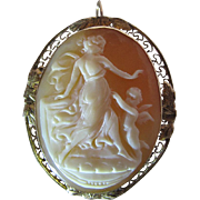 Antique 14K Gold Mounted Cameo Pendant Brooch With Unusual And Charming Vignette