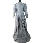 Antique 1880's Victorian Silver And Blue Silk Bustle Dress