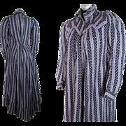 Antique 1890's Victorian Graphic Purple And Black Printed Cotton Dress