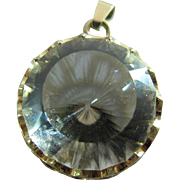 14K Yellow Gold Mounted 35 Carat Faceted Rock Crystal Pendant