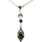 Antique Edwardian 14k Gold Sapphire And Seed Pearl Pendant Necklace