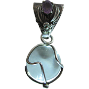 Art Nouveau Sterling Silver Caged 3/4 Inch / 20-mm Pools Of Light Pendant With Amethyst