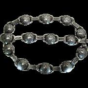 Hand Made Vintage Native American Indian Stamped Sterling Silver Necklace And Bracelet Set
