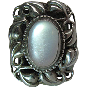 Arts & Crafts Era Sterling Silver Instone Style Leaf Ring With Luminous Moonstone Cabochon