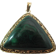 Vintage 14K Yellow Gold And Malachite Pendant