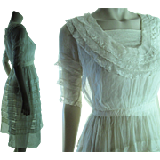 Pretty Antique Teens / Edwardian Organza And Lace Dress