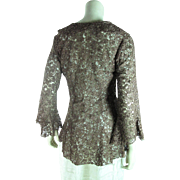 Stylish Early 20th Century Nutmeg Lace Jacket With Bell Sleeves