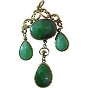 Antique Belle Epoque 14K Gold And 10.32 Carat Apple Green Jadeite Chandelier Pendant