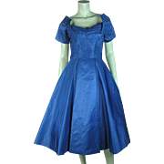 Shimmering 1950's Vintage Ceil Chapman Iridescent Blue Silk Party Dress
