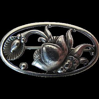 Vintage Georg Jensen Denmark Art Deco Sterling Silver Pin #274