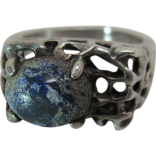 Vintage Sterling Silver And Boulder Opal Mid-Century Modernist Ring In The Brutalist Style