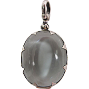 Vintage Sterling Silver Mounted Glass Face Locket Pendant