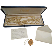 1920's 72-Inch Simulated Pearl Rope Necklace With Box, Tags And Charming Card