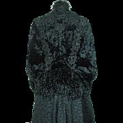 Opulent Antique Victorian Fringed And Beaded Dolman Sleeve Silk Velvet Jacket