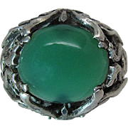 Vintage Sterling Silver And Fine Chrysoprase Ring