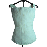 Antique Circa 1820 Regency Embroidered Cotton Corset With Trapunto And Cross Stitch Monogram