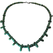 Vintage Native American Natural Green Turquoise Heishi Necklace With Fringe