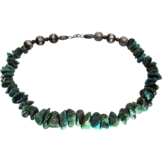 Beautifully Composed Vintage Navajo Silver Bench Bead And Turquoise Nugget Necklace