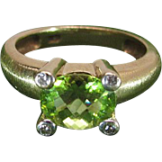 Vintage 14K Yellow Gold Rose Cut Green Peridot And Diamond Ring