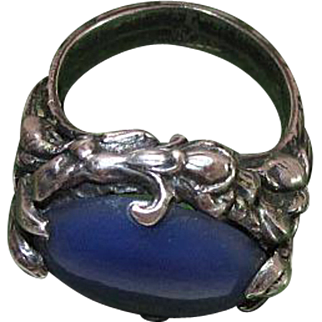 Antique Art Nouveau Sterling Silver And Chalcedony Ring
