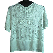 Lovey Antique Circa 1910 Edwardian Irish Crochet / Mixed Lace Blouse