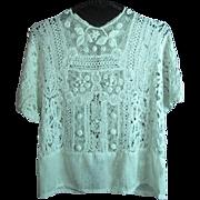 Lovey Antique Circa 1910 Edwardian Irish Crochet / Mixed Lace Blouse