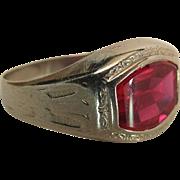 Art Deco Era 14K White Gold Created Ruby Men's / Unisex Ring