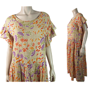 Colorful 1920's Vintage Cotton Day Dress With Great Art Deco Floral Print