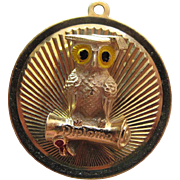 Rare Dankner Vintage Enameled 14K Yellow Gold Owl Graduation Charm With Diploma