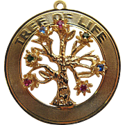 Vintage 14K Gold Ruby Sapphire And Emerald Tree Of Life Charm
