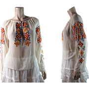 Vintage Colorfully Embroidered Hungarian / Eastern European Peasant Blouse Circa 1930