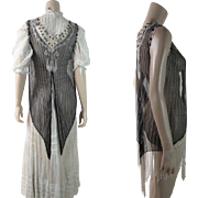 Opulent Antique Beaded Edwardian Tunic Overdress With Tassels