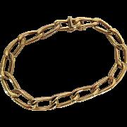 Vintage 14K Yellow Gold Paperclip Style Curb Link Bracelet / Charm Bracelet
