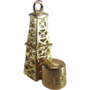 "Vintage 14K Yellow Gold ""Petrol"" Oil Well Charm"