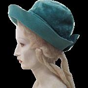 "Circa 1960 Vintage Lilly Daché ""Dachettes"" Plush Blue Felt Slouch Hat"